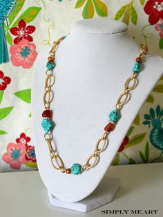 Contemporary Necklace with Agate, Turquoise and Fresh Water Pearls~