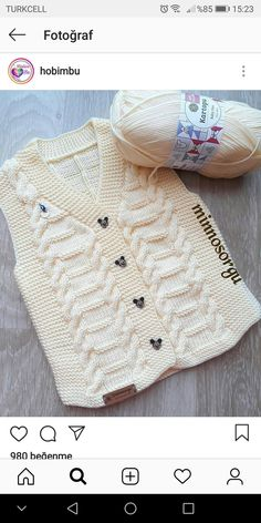 Knitting For Kids, Baby Knitting Patterns, Crochet For Kids, Knitting Stitches, Knitting Designs, Knitting Projects, Hand Knitting, Baby Poncho, Baby Vest
