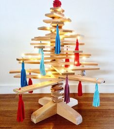 Make it a Sustainable Christmas with our Wood Xmas Trees! Maybe from recycled Oregon (Douglas fir) timber in Melbourne, we ship across Australia! Decorations are made from recycled t-shirts by Wasteknot!  #ecochristmas