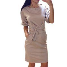 Barato 2015 venda quente mulheres moda primavera fino casuais bolso faixas trabalho OL Plus Size breve Sexy Roupas Femininas, Compro Qualidade Vestidos diretamente de fornecedores da China: