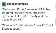 So initially when I read this I thought of it the same way as James did, Lily = Beauty and James = Beast, and it was funny how he responded. But remember that these are future Death Eaters and Lily is muggleborn. The whole confrontation becomes less humorous