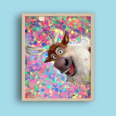Frozen Sven Reindeer, Frozen printable, Frozen Disney Kids Decor, Frozen characters, Nursery room Decor print, Colorful girls room decor