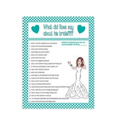 ****Printable Bridal/Wedding Shower Game****  This game will create lots of laughs! The Groom is asked questions about the Bride-to-be ahead of
