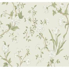 Black & White Gracie Floral Wallpaper, Green