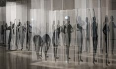 Déjà Vu -installations consist of life size, hand painted ink silhouettes on t… - Contemporary Art Fabric Installation, Museum Exhibition, Exhibition Space, Human Art, Grafik Design, Magazine Art, New Artists, Fabric Art, Art Tutorials