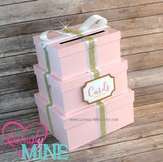 Card Box - 3 Tier Box Gift Money Box with Card Sign in Baby Pink, White & Gold - Princess Girl Sweet Sixteen - Additional Colors Available by LovinglyMine on Etsy