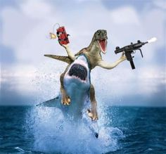 Trex on a shark with Uzi and dynamite...