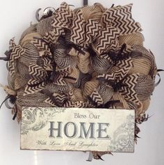 "Wreath - Black & Burlap ""Bless"""