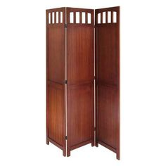 3 Panel Folding Screen - Antique Walnut makes a lovely room divider and expands to 52.5 inches wide. It's 70 inches high. Make privacy in your dormroom, apartment or loft space with this wood partition.  #dorm #dormroom #decor #privacyfenceidea #partition #roomdivider #divider