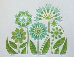 Summer Garden Print limited edition aqua by byvikINK on Etsy