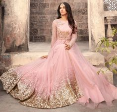Buy Attractive Pink Colored Designer Embroidered Partywear Net Abaya Style Anarkali Suit Online India, Best Prices, Reviews - Peachmode