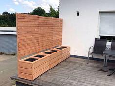 Pflanzkasten Holz mit Sichtschutz in Rhombusleisten, Oberfläche: Natur - auch in Größe & Farbe nach Wahl