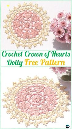 Crochet Crown of Hearts Doily Free Pattern - Crochet Doily Free Patterns