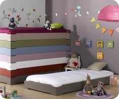 Stapelbares Kinderbett taupe mit Lattenrost