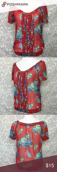 Abercrombie & Fitch Sheer Floral Peasant Blouse M Abercrombie & Fitch  • Womens Medium, (See Pictures For Measurements) • Sheer Peasant Blouse  • Button Down • Red With Blue Floral Pattern  • 100% Polyester  • Hand Wash, Dry Flat  Preowned, in Good Used Condition. See Last   Picture For Closeup of Tiny Pinhole on Front Left Side.  Comes From a Clean Smoke Free Home * All Measurements Are Approximate Abercrombie & Fitch Tops Blouses