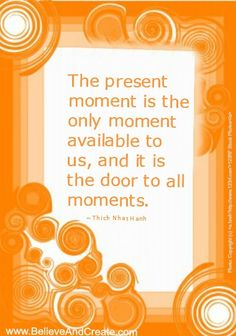 """""""The present moment is the only moment available to us, and it is the door to all moments.""""  ~ Thich Nhat Hanh   www.BelieveAndCreate.com"""
