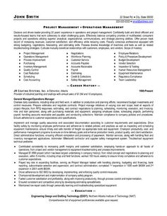 sample project manager resume templates