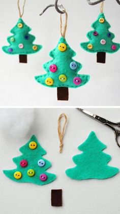 Felt Christmas Tree Ornament | Click for 25 DIY Christmas Crafts for Kids to Make | DIY Christmas Decorations for Kids to Make