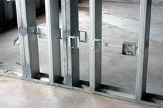 What is the best way to hang shelving or cabinetry on drywall that is attached to steel studs instead of wood studs? Answer: Ideally, the shelving and cabinetry were a forethought to building. Metal Stud Framing, Steel Framing, Steel Sheds, Steel Barns, Steel Wall, Steel Metal, Sistema Drywall, Metal Building Kits, Kitchen Wall Cabinets