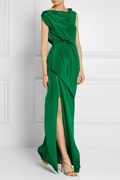 Forest-green silk crepe de chine Zip fastening through side silk Dry clean Designer color: Emerald Green Imported Beautiful Gowns, Beautiful Outfits, Chifon Dress, Dress Skirt, Dress Up, Shirred Dress, Ruffle Dress, Glamour, Silk Crepe