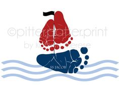 Sailboat Baby Footprint Nautical Nursery Art by PitterPatterPrint