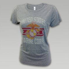 Marine Corps Women's Throw Back T-Shirt | ArmedForcesGear.com | Armed Forces Gear