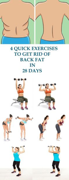 These 4 exercises for the back will eliminate the fat from your back in a very short time. The starting position for all 4 exercises is with 5-8 pound dumbbells in each hand and feet shoulder-width apart. http://www.weightlossstarts.com/weight-loss-exerci
