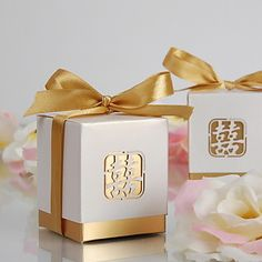 Chinese banquet favour boxes - Laser-Cut Double Happiness Favor Box-Gold Satin(set of 12) – GBP £ 3.47