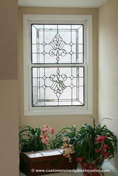 Small, stained glass window for a kitchen makes a lovely backdrop in all-clear glass. Custom Stained Glass, Stained Glass Panels, Leaded Glass, Beveled Glass, Stained Glass Art, Bathroom Windows, Glass Bathroom, Glass Kitchen, Kitchen Windows