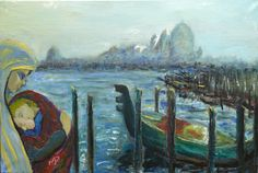 Amore a Venezia By Marco Perna  oil on canvas available for purchase on www.passionartly.com  By buying this artwork you are doing a good deed, we pledge to donate 5% to the association :French Esophageal Atresia Association (AFAO) - French Charity for Children