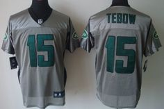 Nike New York Jets #15 Tim Tebow Gray Shadow Elite Jersey
