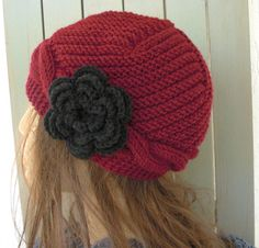 Hand Knit  hat  Womens Hat Cable knit hat   Cloche  Wool by Ebruk, $35.00