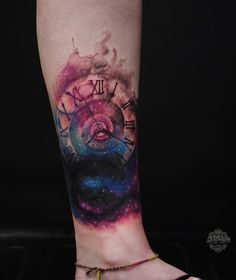 Watch with galaxy tattoo - 100 Awesome Watch Tattoo Designs