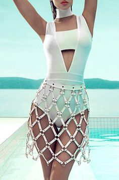 Hollow Out Choker Strapless Bandage Bodysuit