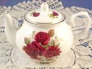 Burgundy Rose 6 Cup Bone China Tea Pot Made In England