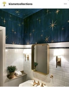 : Stars painted on the ceiling for a lovely small and quirky bathroom, Bathroom ceiling diy. Stars painted on the ceiling for a lovely small and quirky bathroom, Bathroom ceiling diyInteri bathroom ceiling DIY firsthomedecor homedecorpainting home Quirky Bathroom, Boho Bathroom, Bathroom Kids, Bathroom Interior, Small Bathroom, Bathroom Vintage, Mirror Bathroom, Bathroom Lighting, Vintage Tile