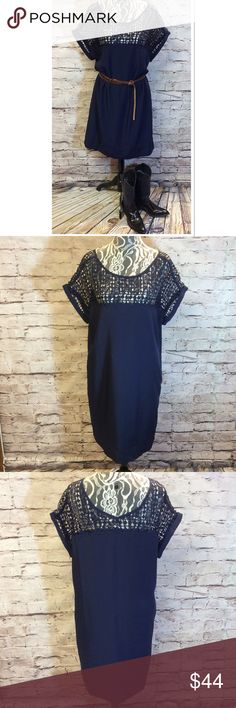 "BEAUTIFUL NAVY BLUE DRESS WITH CROCHET NECKLINE Pretty shift dress with a crochet neckline. Like new condition. Measurements taken lying flat Bust 23"" Length 35.5"". Boots for sale in a separate listing. Belt not included Boutique Dresses"