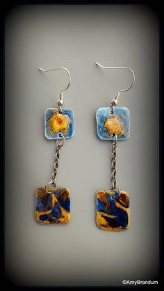 Blue Whirlpool Handmade Dangle Earrings- original design by MetalChocolate on Etsy