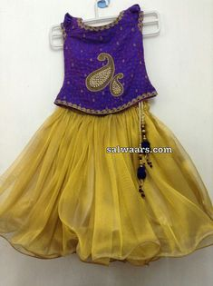 Mustard Color and Purple Designer Lehenga - Indian Dresses Girls Frock Design, Baby Dress Design, Kids Lehanga Design, Kids Dress Wear, Kids Gown, Baby Frocks Designs, Kids Frocks Design, Baby Girl Party Dresses, Little Girl Dresses