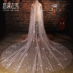 Cheap 3 Meters Long Wedding Veil Bridal Veils White / Ivory Cut Edge Floral Bridal Wedding Accessories voile mariage 2016 TBV09