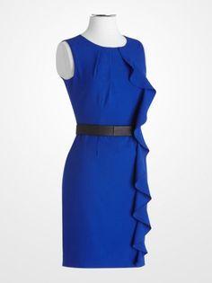 Women's Dresses - Calvin Klein Cobalt Blue Ruffle Belted Sheath Dress - K Fashion Superstore