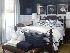 I love navy blue, one wall of recycled wood panel and the rest classic