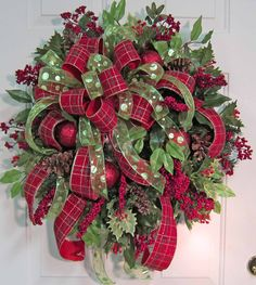 XL Gorgeous Christmas Door Wreath Outdoor Holiday Wreath Double Ribbons