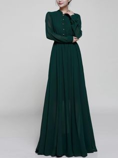 Solid Color Stand Collar Long Sleeves Maxi Dress