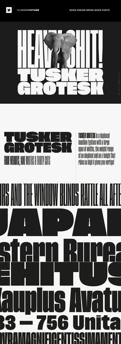 #affiliate Tusker Grotesk is a headline typeface designed for robust andhigh-impact use. The initial inspiration for Tuskercame from postwar typefaces likeHaettenschweiler, Impact and Helvetica Inserat which use very high x-heights.Other influences in the condensed end of the Tusker family are old grotesqueslike Folio Extra Condensed and Stephenson Blake Elongated Sans No.1 with their flat terminals and closed-up apertures.