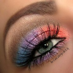 blue, purple and orange eye make up.