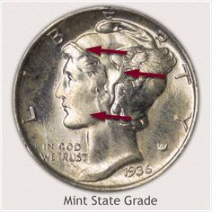 Areas to Judge and Identify on the Obverse a Mint State Grade Mercury Dime Valuable Pennies, Valuable Coins, Old Coins Worth Money, Old Money, Silver Dimes, Silver Coins, Silver Value, Old Coins Value, Marble Price