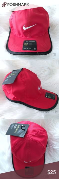 Nike Aerobill Featherlight Red Dad Hat Cap Brand new with tags, Adult, Unisex, One Size. This  Nike Aerobill Featherlight Perforated Dad Hat Cap comes a red and black colorway. The Nike swoosh logo in white is front and center. Love the vintage, retro vibes. Material feels like the same fabric used for windbreakers. Made of featherlight Dri-Fit material, it keeps you cool & dry. Adjustable velcro straps. Small perforations to keep you cool. Perfect hat if you play tennis as well. Made of…