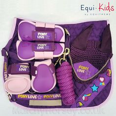 Equi-Kids Pony Love Pink / Purple Matchy Set Pamper your pony with this gorgeous purple and pink pony matchy set from Equi-Kids. Includes 5 super cute horse wear and matching tack items. - Art Of Equitation Horse Riding Gear, Riding Hats, Riding Helmets, Horse Riding For Kids, Equestrian Boots, Equestrian Outfits, Equestrian Fashion, Equestrian Style, Riding Breeches