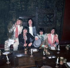 December 5, 1968: Brian Jones (1942 - 1969), Keith Richards, Mick Jagger, Bill Wyman and Charlie Watts pose at the Kensington Gore Hotel, where they staged a mock-medieval banquet for the launch of their new album 'Beggars Banquet'